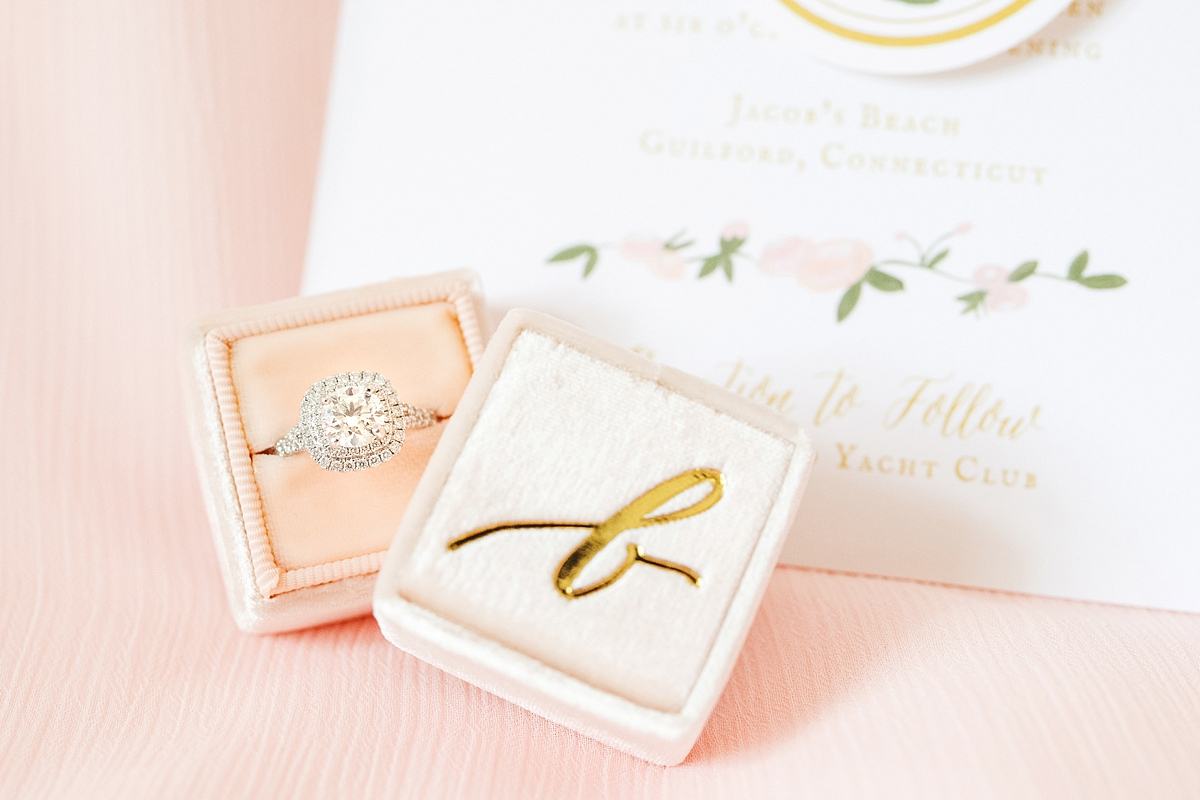 light pink mrs. box with engagement ring and invitation suite