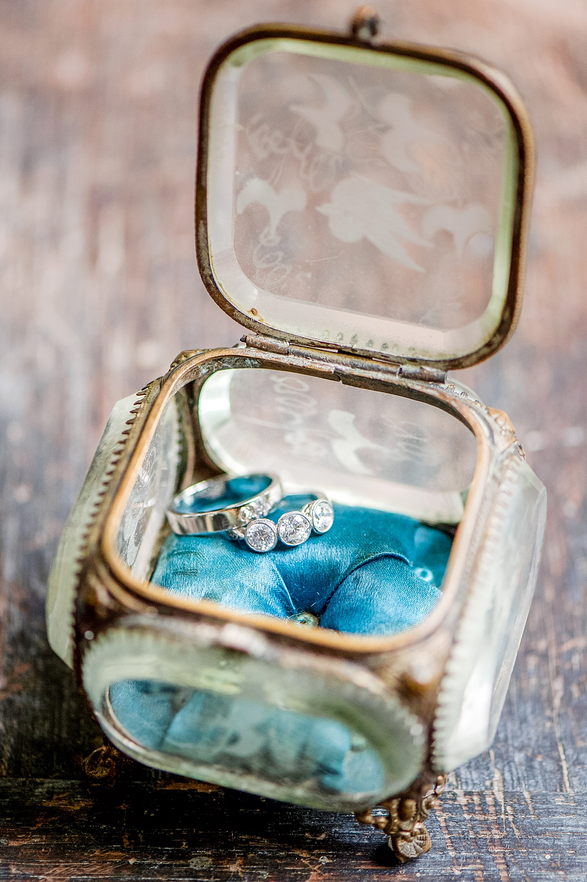 vintage crystal ring box with wedding bands