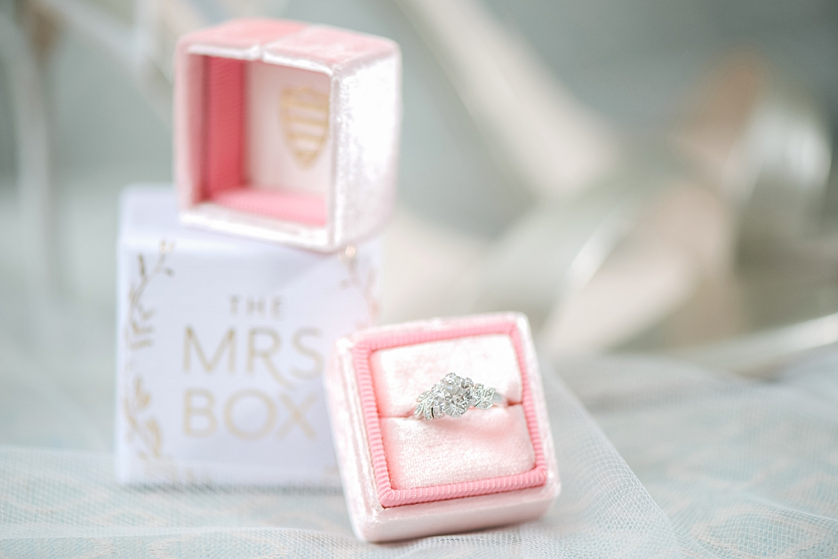 pink mrs. box with engagement right and wedding heels
