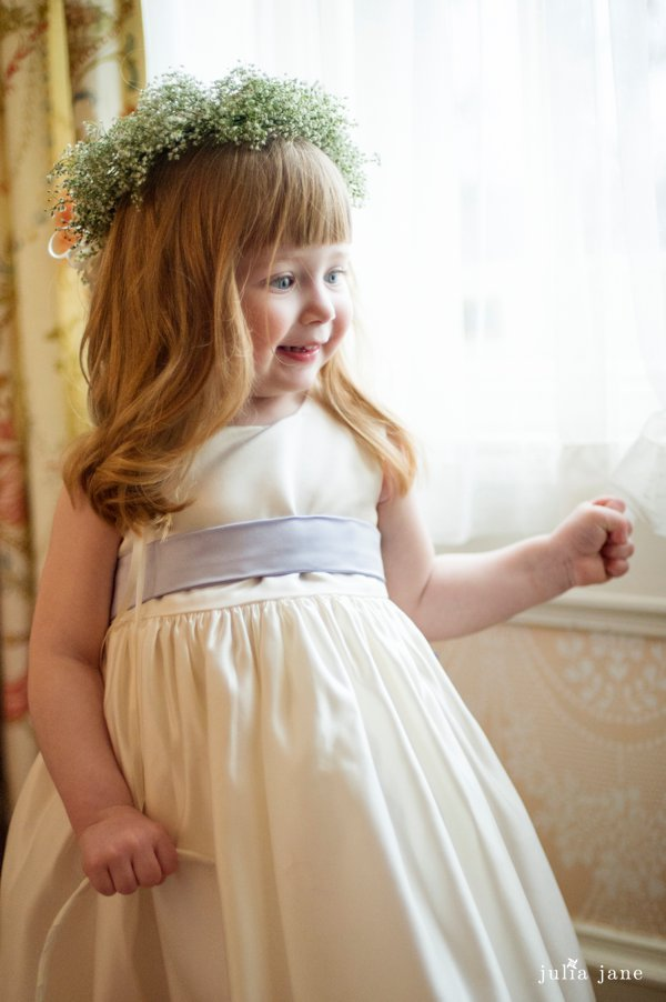 flower girl with baby breath crown