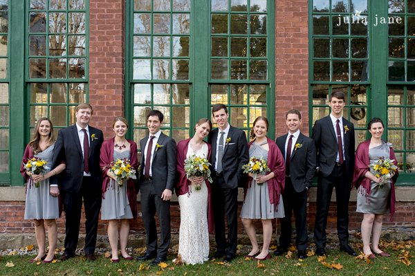 grey and yellow bridal party in new england
