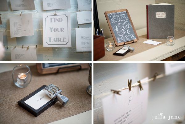 library themed wedding details at the lace factory