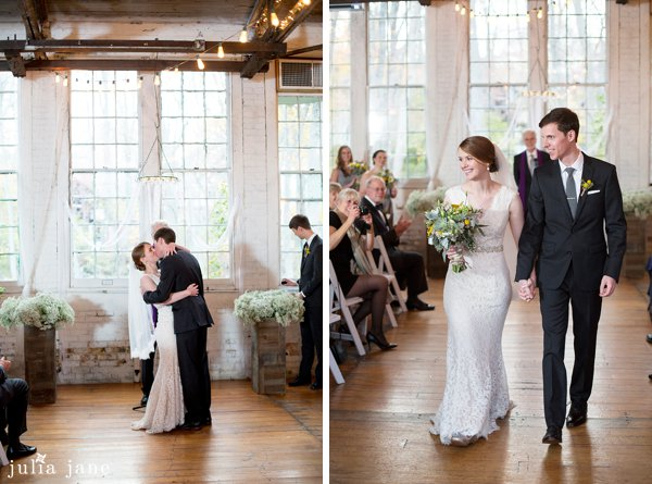 indoor ceremony at the lace factory