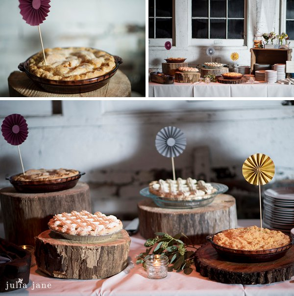 Pies at a lace factory wedding