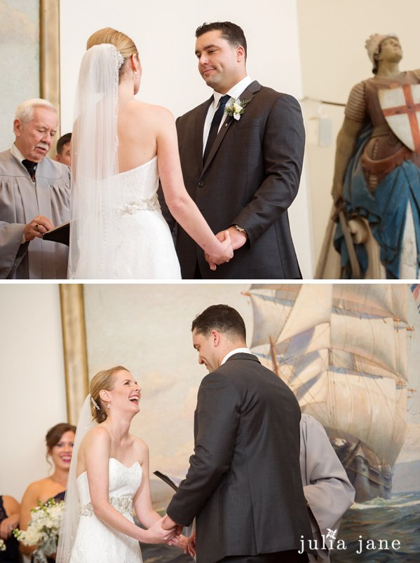 wedding ceremony at greenmanville church in mystic seaport by connecticut wedding photographer julia jane studios