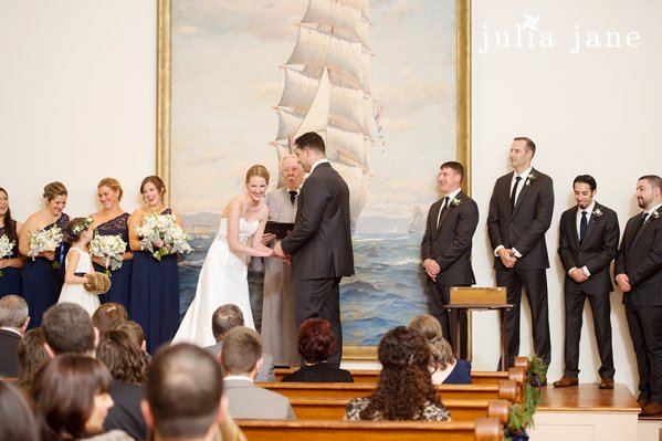 wedding ceremony at greenmanville church at mystic seaport by connecticut wedding photographer julia jane studios
