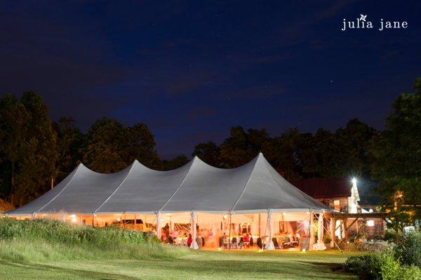 tented reception at red maple vineyard