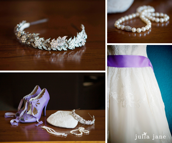 purple bridal details