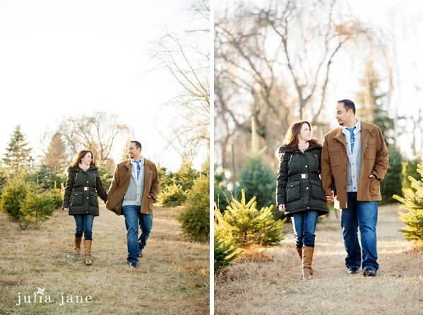 casual tree farm engagement session